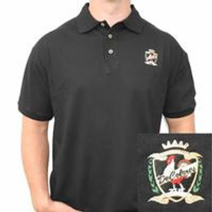 Rooster Crest Design Black Polo