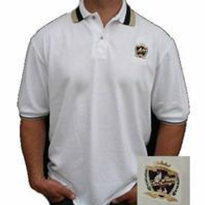 Rooster Crest Design White Polo w/Contrasting collar 3 botton