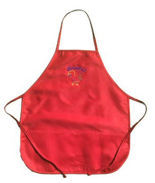DeColores/Rooster Outline 2 Pocket Apron Red