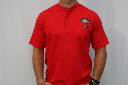 Walk To Emmaus Old Logo Short Sleeve Henley Red