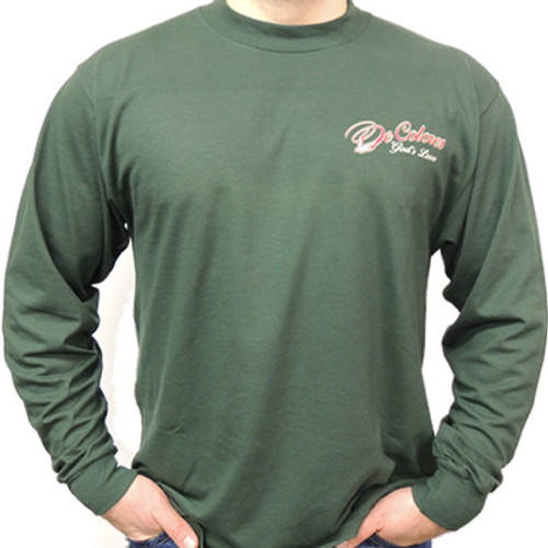 Walk With Him Long Sleeve -- Forest Green Tee Front/Back Design