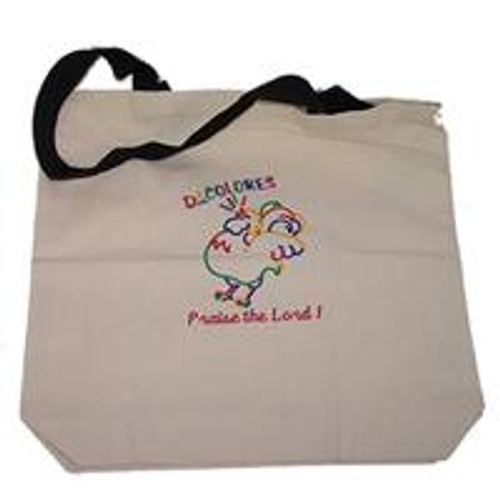 Rooster/Praise Tote Bag Natural w/Red Handles