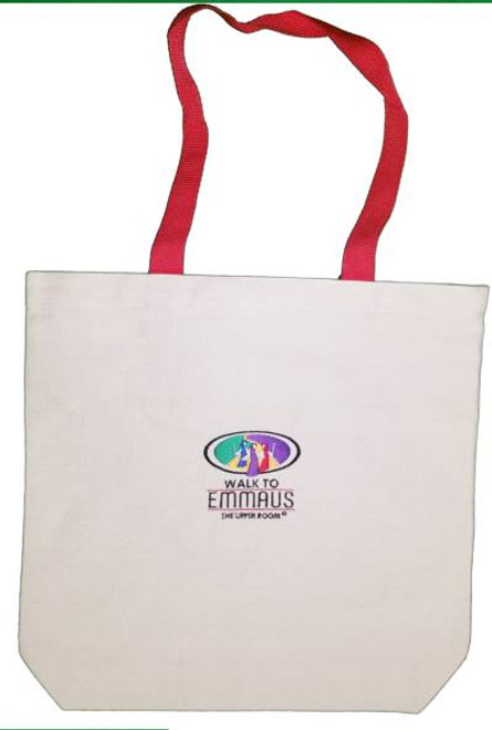 Walk To Emmaus Tote Bag Natural w/Red Handles