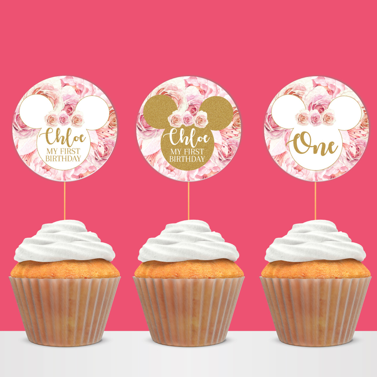 Swell Digital Minnie Mouse Floral Pink Flowers Birthday Cupcake Toppers Funny Birthday Cards Online Necthendildamsfinfo
