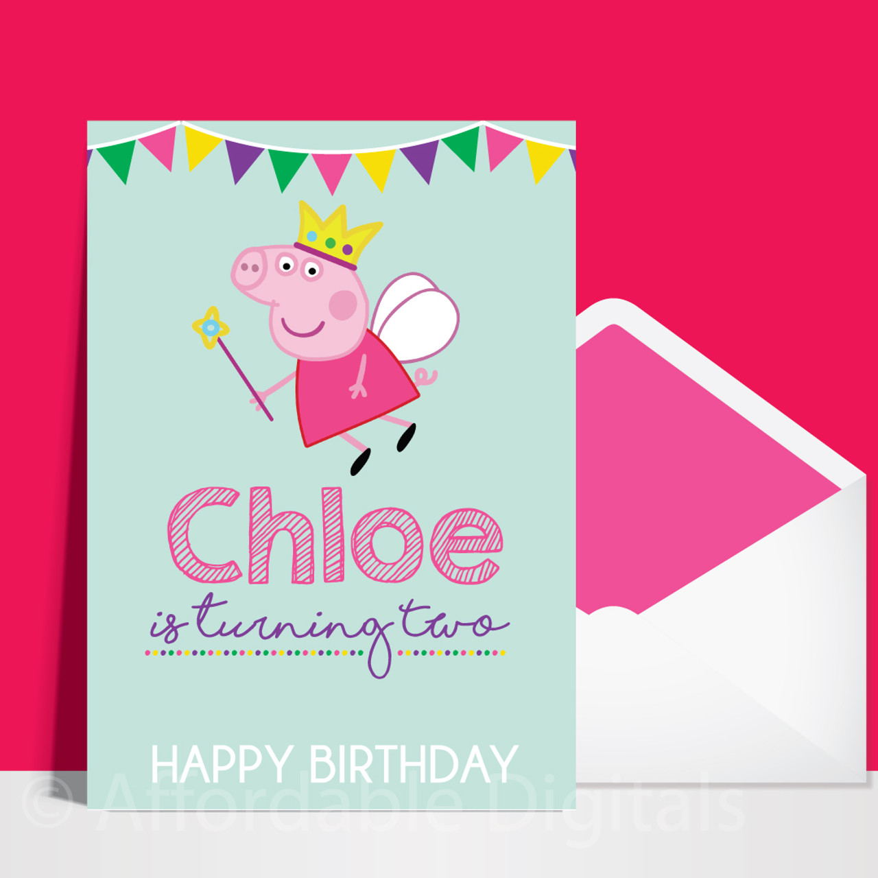Peppa pig and George cellophane wrapped greeting birthday  card