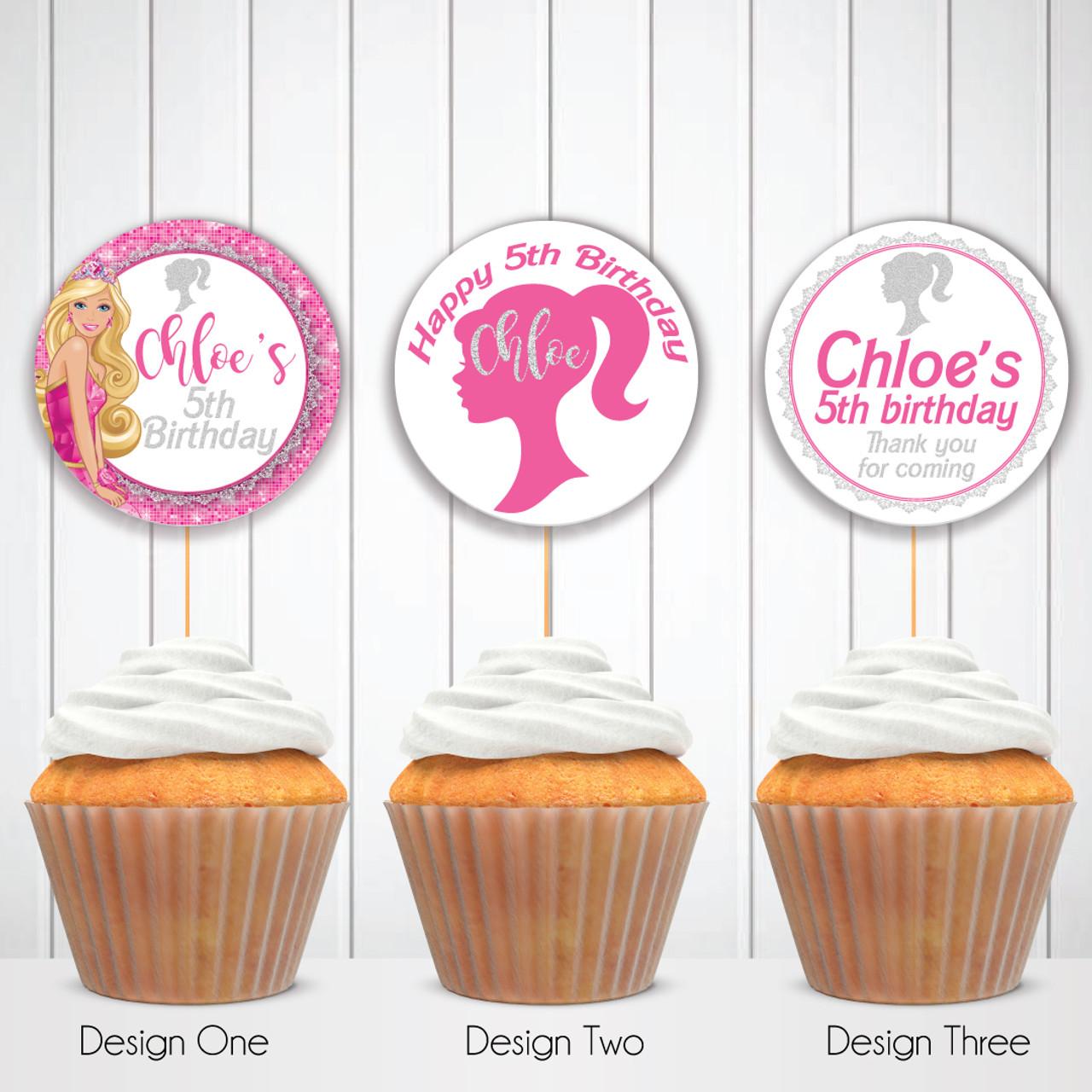 Brilliant Digital Barbie Personalised Birthday Cupcake Toppers Circle Labels Personalised Birthday Cards Beptaeletsinfo