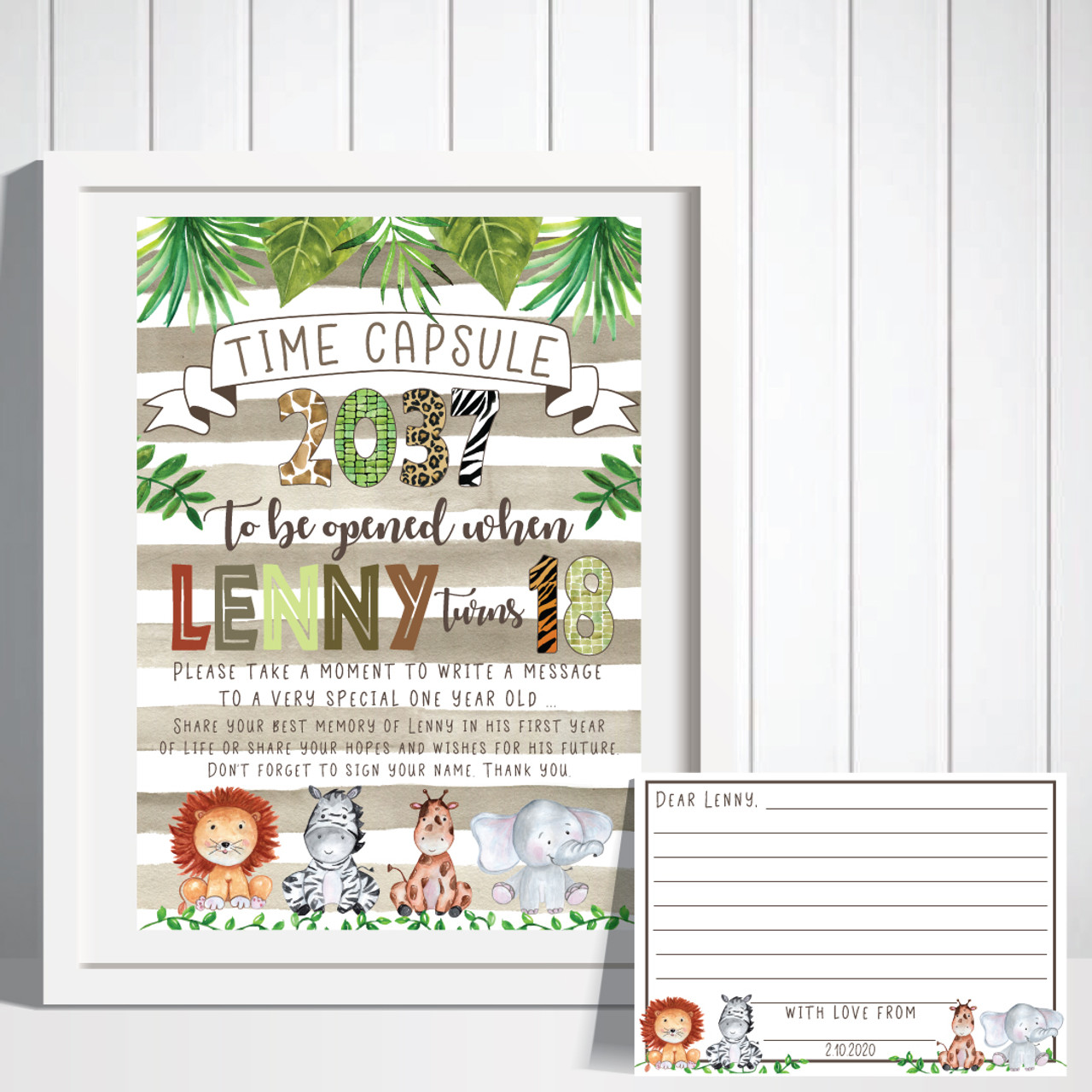 Jungle 1st Birthday Time Capsule Decorations Print Invite Party First Lion