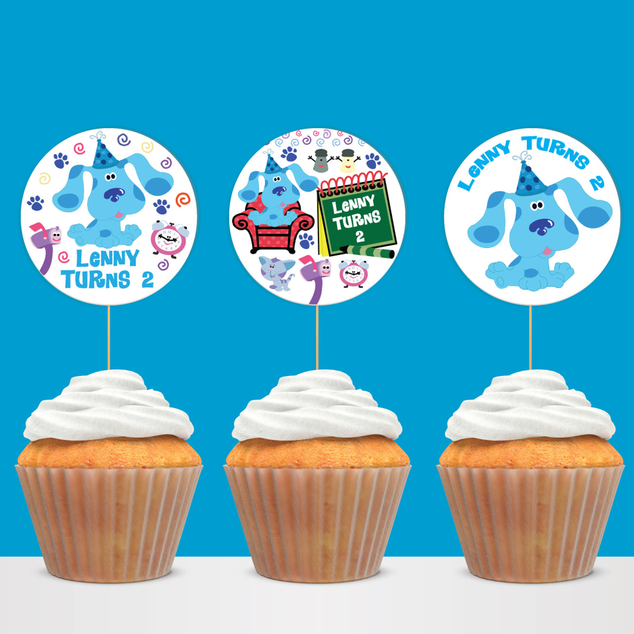 Groovy Digital Blues Clues Birthday Cupcake Toppers Circle Labels Personalised Birthday Cards Fashionlily Jamesorg
