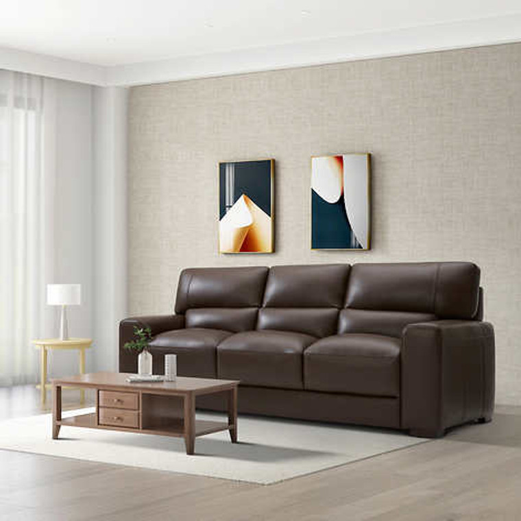 RAWLINS Leather SOFA Couch BROWN Open Box