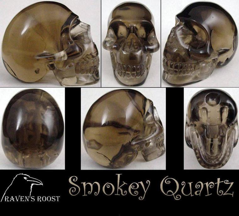 Raven's Carved Classic Style Smokey Quartz Crystal Skull