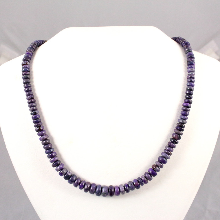 Purple Sugilite Beaded Necklace Sterling Silver Jewelry