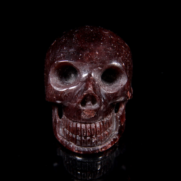 "Garnet Crystal Carved Skull 1.75"""