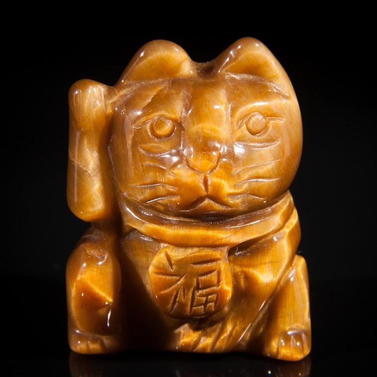 Tiger Eye Lucky Cats Carving Maneki Neko