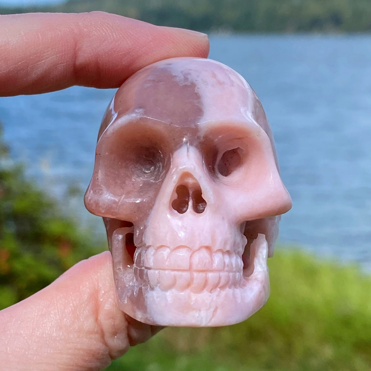 Raven's Carved Peruvian Pink Opal Crystal Skull