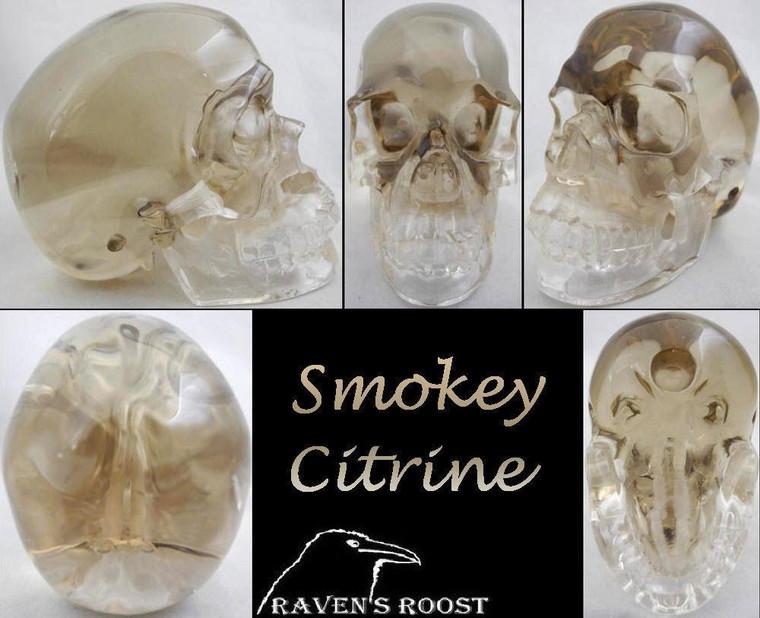 Raven's Super Clean Premium Style Smokey/Citrine Quartz  Crystal Skull with Phantom Zone