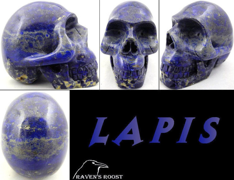 Raven's Carved  Lapis Lazuli Crystal Skull