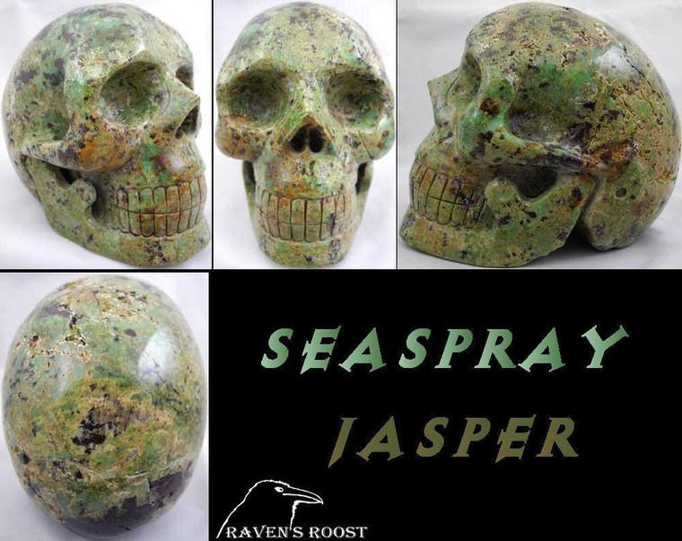 Raven's Carved Seaspray Jasper Crystal Skull