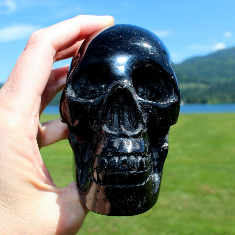 "Black Tourmaline Crystal Skull 4.3"""