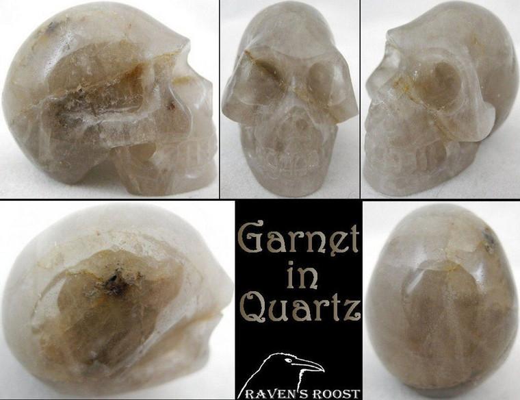 Raven's Carved Garnet in Quartz Crystal Skull