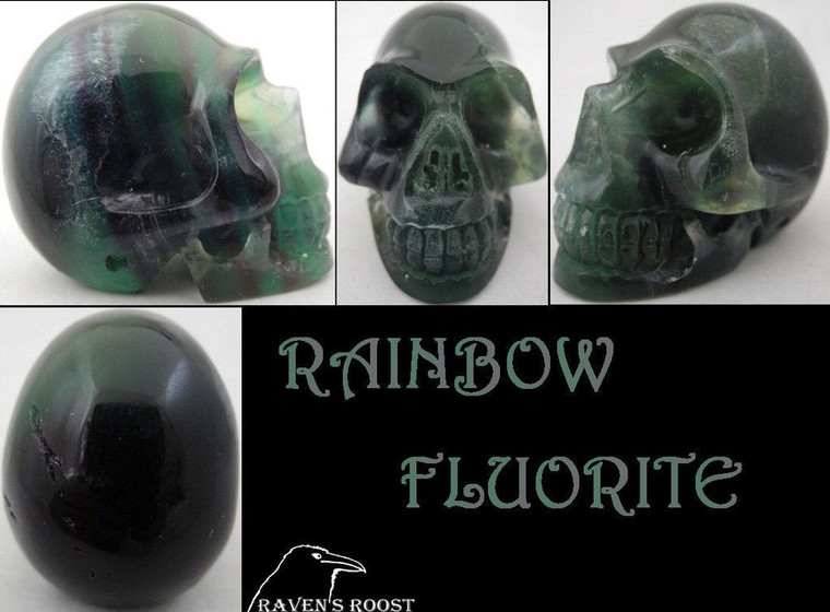 Raven's Carved Purple and  Green Rainbow Fluorite Crystal Skull 1