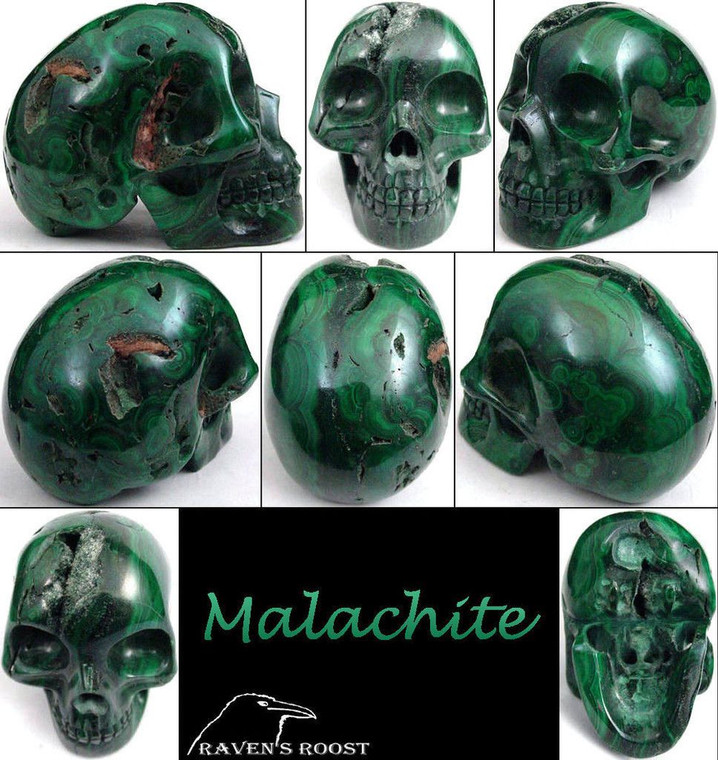 Raven's Carved Classic Style Malachite Crystal Skull