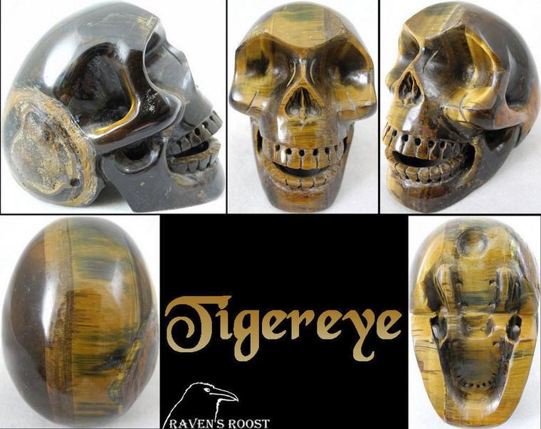 """Raven's Hand Carved Tigereye Crystal """"Singing"""" Skull"""