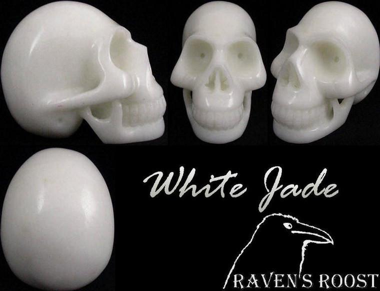 Raven's Carved White Jade Crystal Skull