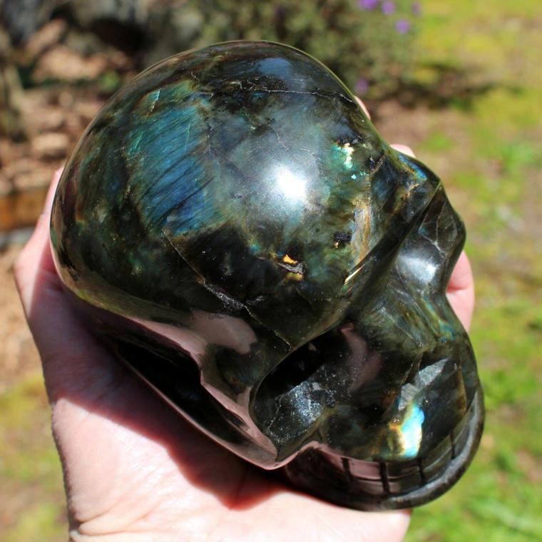 "Labradorite Crystal Skull Carving 5"" ~ Mystic Rainbows"