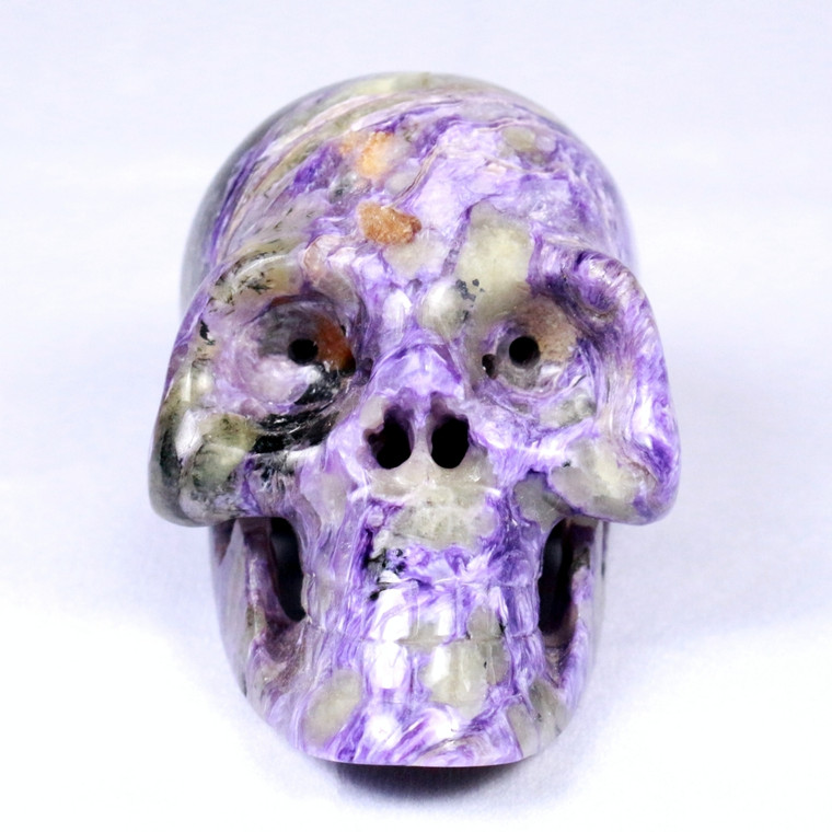 Raven's Carved Classic Style Purple Charoite Crystal Skull