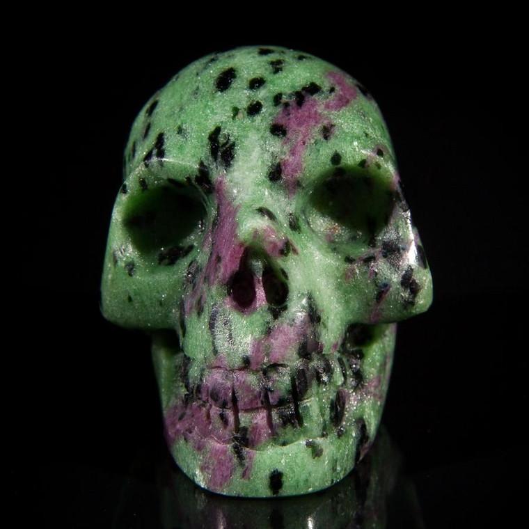 """Tanzanian Ruby Zoisite Crystal Skull 1.75"""""""
