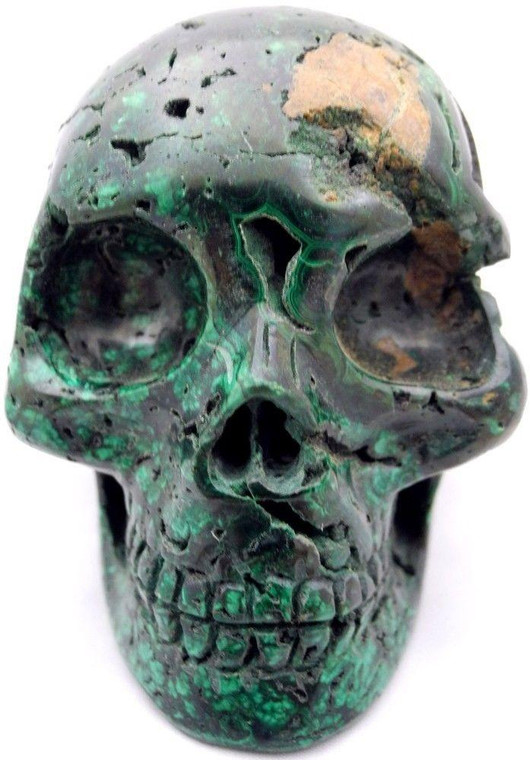 Raven's Carved Classic Style Malachite Crystal Skull with vugs