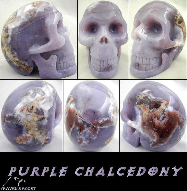 Raven's Carved Purple Chalcedony Crystal Skull