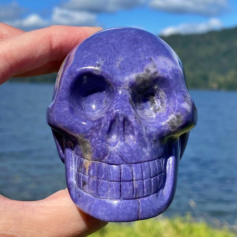 Raven's Deep Purple African Lepidolite Crystal Skull