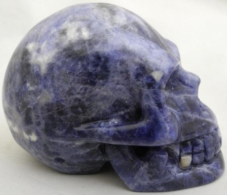 Raven's Carved Blue Sodalite Crystal Skull