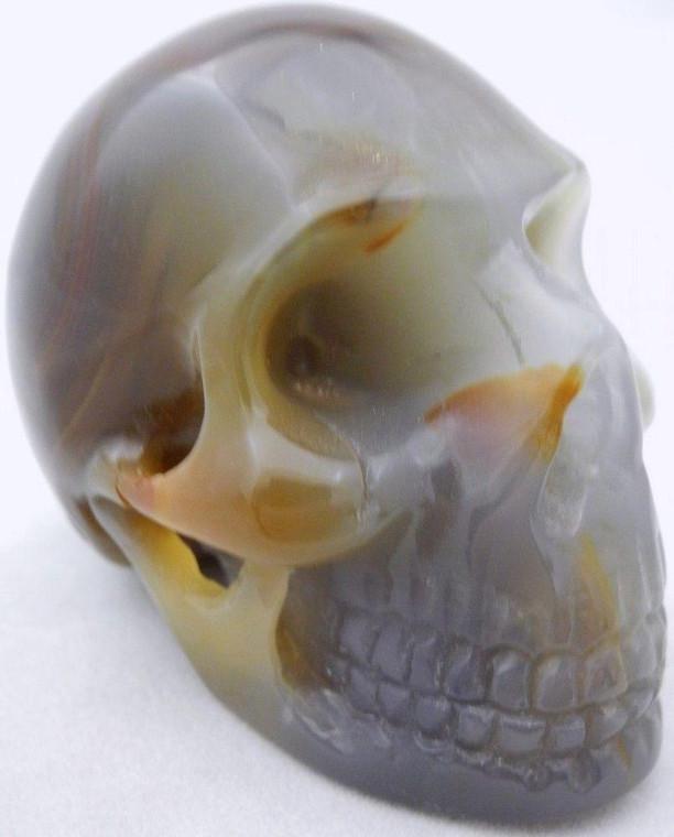Raven's Carved Banded Agate Crystal Skull
