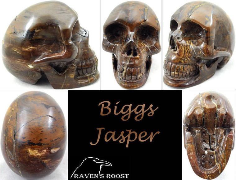Raven's Carved Classic Style Biggs Jasper Crystal Skull