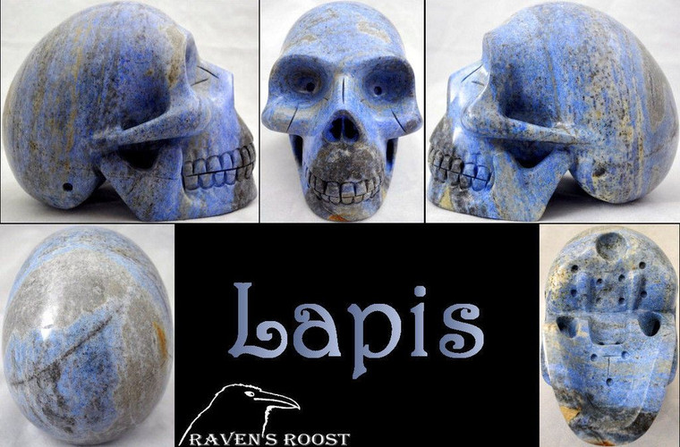 Raven's Carved Old Time Early Classic Style Denim Lapis Lazuli Crystal Skull