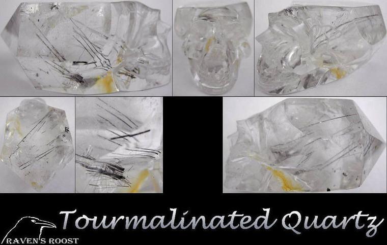 Raven's Carved Tourmalinated  Quartz Crystal Skull Wand