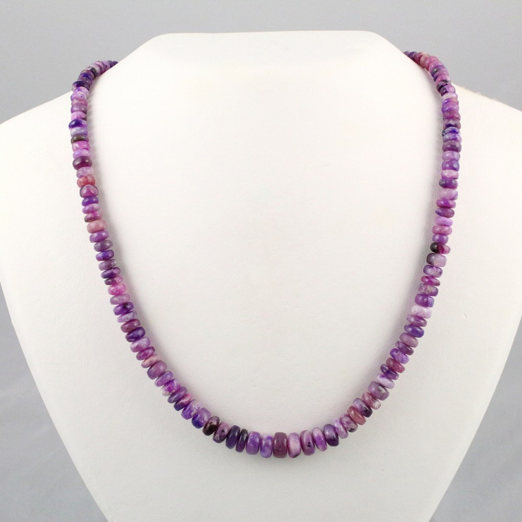 Gel Sugilite Crystal Beaded Necklace Sterling Silver Jewelry