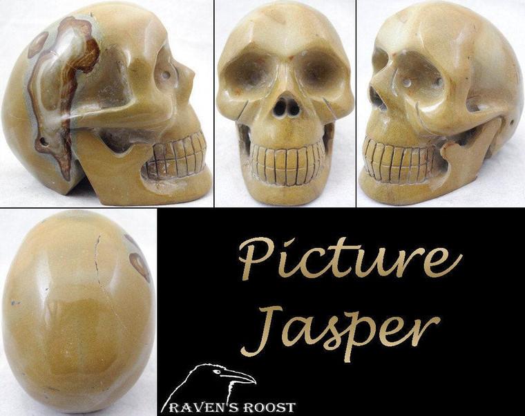 Raven's Carved Picture Jasper Crystal Skull