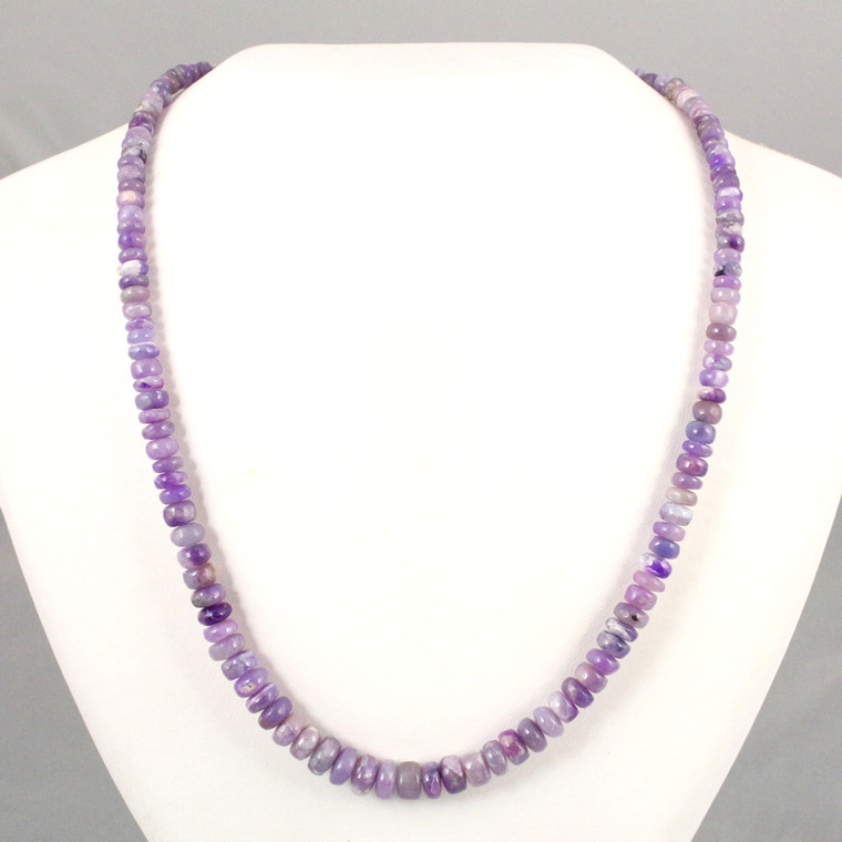 Gel Sugilite Gemstone Bead Necklace Sterling Silver Clasp