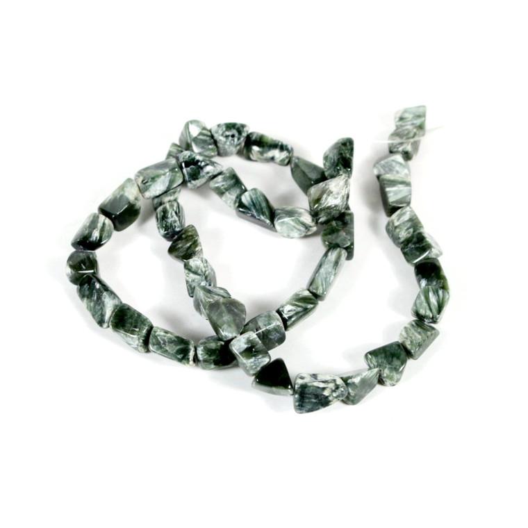 Seraphinite Tumbled Beads 10x8x12 mm Bead Strand