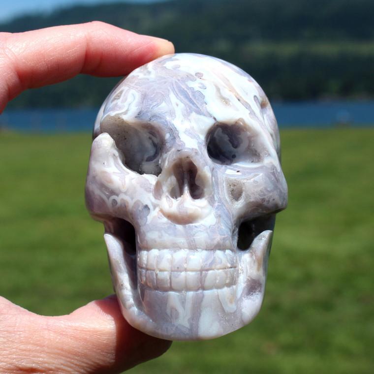"Royal Agate Vugs Crystal Skull 3.1"""