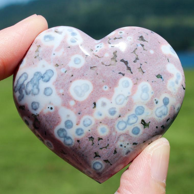 Colorful Ocean Jasper Crystal Gemstone Heart