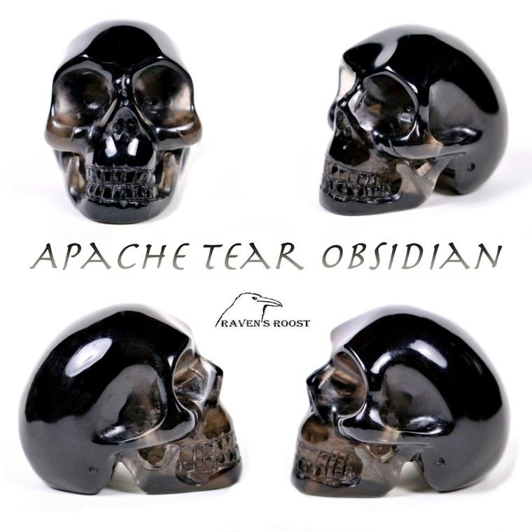 "Raven's Apache Tear Obsidian Crystal Skull 1.5"" 37mm"