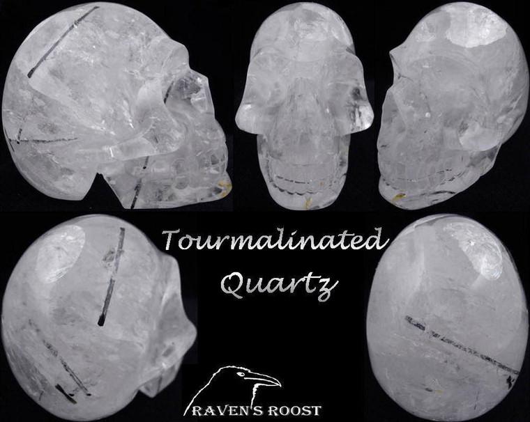 Raven's Carved Tourmalinated Quartz Crystal Skull