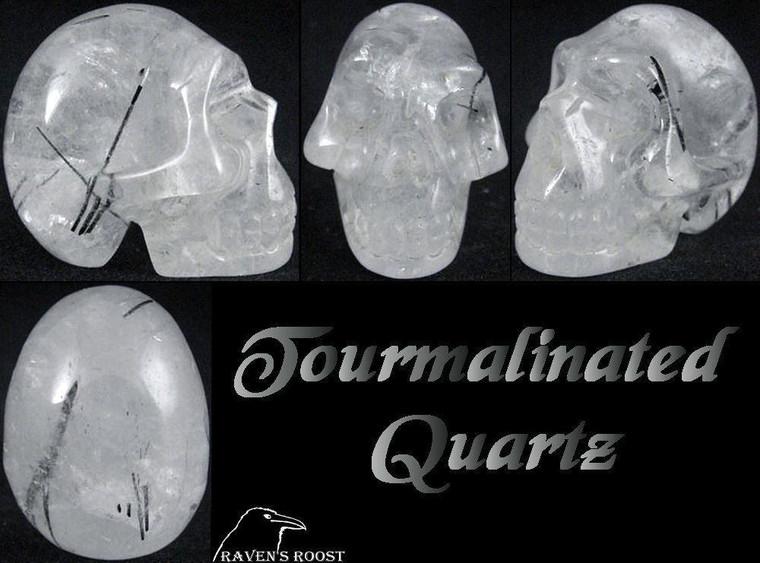 Raven's Carved Tourmalinated Quartz Crystal Skull 2