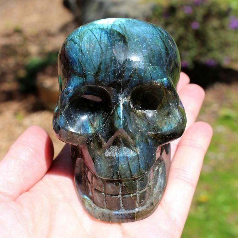 "Labradorite Crystal Skull Carving 3.1"" ~ Blue Fire Crown Chakra"
