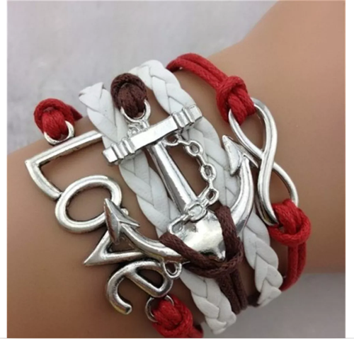 LOVE  Red & White  Infinity Bracelet