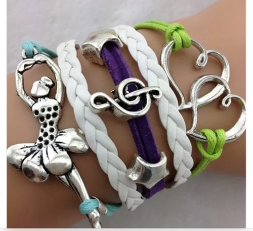 DANCER Green, White & Purple  Infinity Bracelet